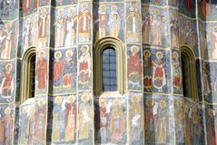 Fresco old monastery painted wall Sucevita romania Royalty Free Stock Photos