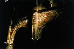 Fresco paint church interior. Light sunbeam on a fresco paint stock image