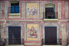 Fresco painted house, Graus, Spain Royalty Free Stock Image