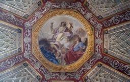 Fresco painting on the ceiling in Mantua Cathedral, Italy. Fresco painting on the ceiling of the Cupola of the Cappella del Santissimo Sacramento in Mantua Stock Photos