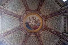 Fresco painting on the ceiling of the Cupola of the Cappella del Santissimo Sacramento in Mantua Cathedral, Italy. Fresco painting on the ceiling of the Cupola stock photo