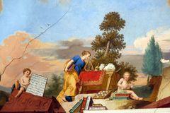 Fresco painting on the ceiling of the Library in Amorbach Benedictine abbey, Germany Royalty Free Stock Photo