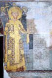 Fresco painting of Despot Stefan Lazarevic. From monastery Manasija (early 15th century), founder portrait, holding in his left hand model of church Royalty Free Stock Images