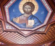 Fresco painting of jesusu christ royalty free stock photography