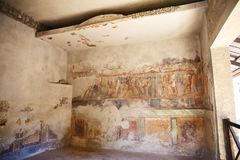 Fresco paintings on ancient Roman walls Royalty Free Stock Image
