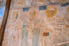Fresco paintings with Bible scenes in the interior of Church of the Annunciation in Arkazhi in Veliky Novgorod, Russia. Royalty Free Stock Photos
