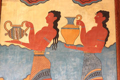 Fresco of the Palace of Knossos Royalty Free Stock Photo