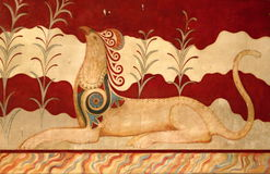 Fresco at Palace of Knossos in Crete Royalty Free Stock Photo