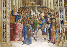 Fresco in Piccolomini Library, Siena. Frescoes & x28;1502& x29; in Piccolomini Library in Siena Cathedral, Tuscany, Italy, by Pinturicchio depicting Pope Pius II Royalty Free Stock Photography