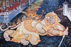 Fresco pintado antigo no estilo tailandês Imagem de Stock Royalty Free