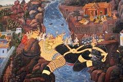 Fresco pintado antigo no estilo tailandês Fotografia de Stock Royalty Free