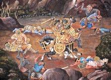 Fresco pintado antigo no estilo tailandês Imagens de Stock Royalty Free