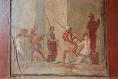 Pompeii. Fresco. Italy Naples stock photo