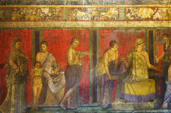 Fresco from Pompeii`s Villa of Mysteries. Dionysiac frieze, Villa of the Mysteries, before 79 C.E., The fresco is thought to represent a ritual of the Eastern royalty free stock image