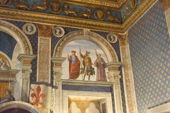 Fresco por Domenico Ghirlandaio em 1482 do dei Gigli de Sala em Palazzo Vecchio, Florença, Toscânia, Itália Foto de Stock