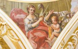 Fresco que representa la justicia en Valencia Fotografía de archivo