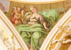 Fresco que representa a Virtue Prudence cardinal Foto de archivo libre de regalías