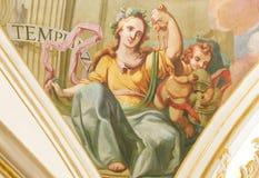 Fresco que representa a Virtue Temperance cardinal Fotos de archivo libres de regalías