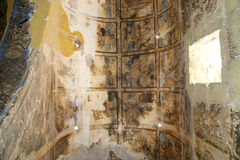 Fresco at Quseir (Qasr) Amra desert castle near Amman, Jordan royalty free stock photo