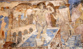 Fresco at Quseir (Qasr) Amra desert castle near Amman, Jordan Royalty Free Stock Photos