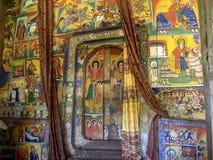 Fresco religiosos na parede de Tana Hayk Eysus United Monastery no lago Tana em Eti?pia imagem de stock