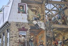 Fresco on Rue du Petit Champlain from Old Quebec City in Canada Stock Photos