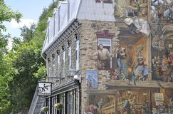 Fresco on Rue du Petit Champlain from Old Quebec City in Canada Stock Images