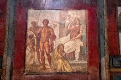 A Fresco Among the Ruins of Pompeii royalty free stock photography