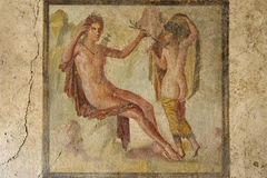 Fresco in the ruins of Pompeii. Fresco in ruined houses of Pompeii, ancient Roman remains after Vesuvio eruption 79 b.c Royalty Free Stock Photos