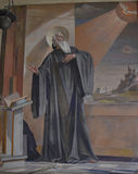 Fresco of Saint Benedict. The fresco of St Benedict of Nursia can be found within the cell that bears his name in Monte Cassino, Lazio Italy. Photo taken April royalty free stock photography