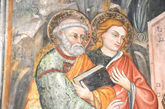 Fresco of Saint Benedict. Saint Benedict with St Scholastica.  The fresco can be found at the San Benedetto Monastery in Subiaco. Photo taken April 2015 Stock Photography