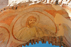 Fresco of a saint in the early Christian Stock Images