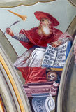 Fresco of saint Hieronymus big teacher of west church from ceiling of chapel in Saint Anton palace Royalty Free Stock Image