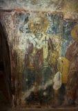 Fresco of Saint Nicholas in La Chiesa di San Lorenzo, Parco Rupestre Lama D`Antico. Pictured is a fresco of Saint Nicholas in an ancient cave church, La Chiesa Royalty Free Stock Photo