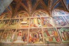 Fresco in San Gimignano Collegiata. Renaissance Fresco in the Collegiata or Collegiate Church of San Gimignano, Italy Royalty Free Stock Photos