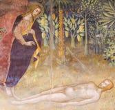 Fresco in San Gimignano - Creation of Adam royalty free stock photo