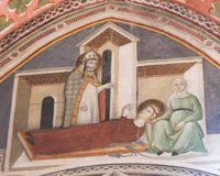 Fresco in San Gimignano - Saints Gregory and Fina. Renaissance Fresco depicting Saint Gregory appearing for Saint Fina on her deathbed in the Collegiata of San Royalty Free Stock Photos
