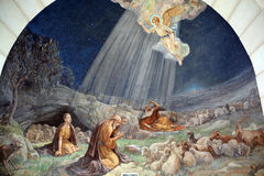 Fresco in Shepherd Field Chapel. BETHLEHEM ISRAEL 26 10 16: Fresco in Shepherd Field Chapel. Has relevance for Catholics because there the first announcement of Stock Images