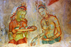 Fresco in Sigiriya Stock Photography