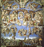 Fresco in Sistine Chapel. The fresco  of the  Last Judgement in Sistine chapel after restoration Royalty Free Stock Images