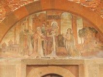 Fresco sobre la entrada a la iglesia del santo Gayane en Armenia Fotografía de archivo libre de regalías