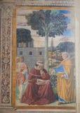 Fresco of St Augustine in San Gimignano, Italy Royalty Free Stock Photo