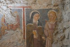 Fresco of St Scholastica Stock Image