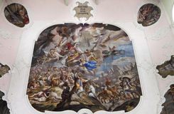 Fresco in St. Ulrich parish church, Obertilliach Royalty Free Stock Photos