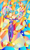 Fresco, stained glass Woman, girl performing a traditional fan dance. Tropical parrots was her audience. Pied colors. Vector backg royalty free illustration