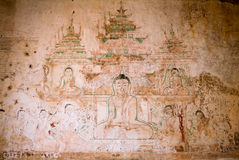 Fresco on Sulamani temple at the archaeological site of Bagan Royalty Free Stock Photo
