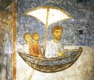 Fresco `Swimming Of The Apostle Paul`. Transfiguration Cathedral. Spaso-Preobrazhensky Mirozhsky Zavelichsky Monastery. Pskov Stock Photo