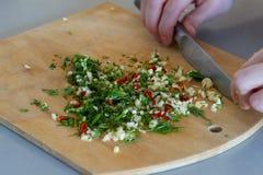 Fresco tajado por el cuchillo en las especias femeninas con ajo, pimientas de chiles rojos, hinojo verde de las manos imagen de archivo
