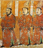 Fresco of three princes Oigour of Gao Chang in the cave of Bezelik, Xinjiang Province, China Royalty Free Stock Photo