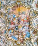 Fresco `Trionfo di Santa Caterina` by Filippo Randazzo in the Church of Santa Caterina in Palermo. Sicily, southern Italy. royalty free stock images